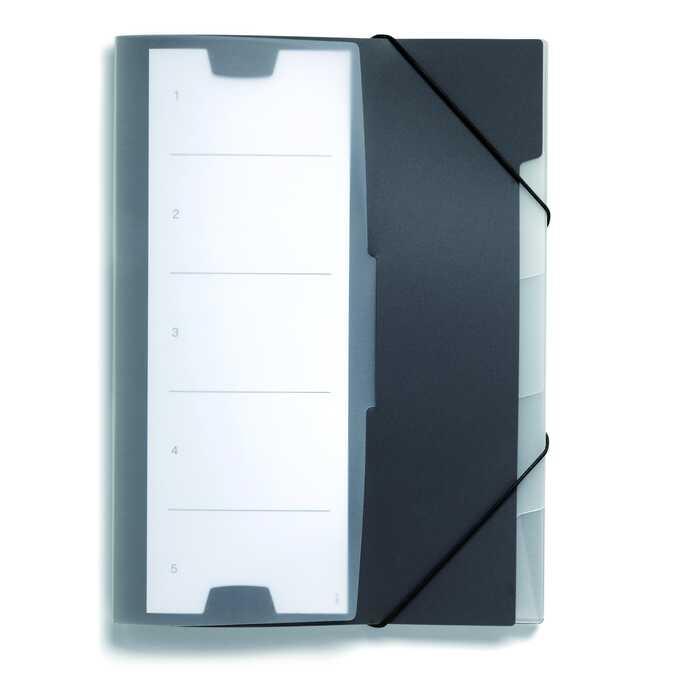 Teczka z gumkami, A4, PP, 5 oddzielnych przegródek - Kolor: czarny