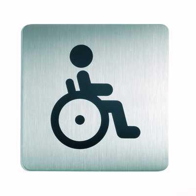 Tabliczka 150x150 mm symbol: WC-niepełnosprawni