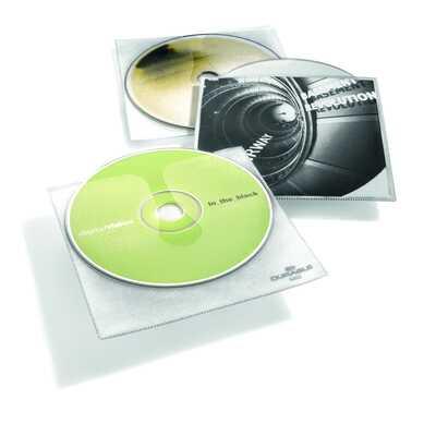 Kieszeń na CD z PP z wyściółką ochronną i kieszenią na opis CD COVER DURABLE,opk.10 szt.