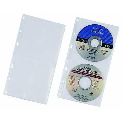 Kieszeń na 2 CD z PP z wyściółką ochronną, do segregatorów A4, (zapas do 5204)