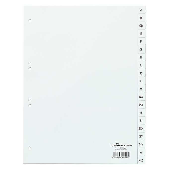 Przekładki PP A4 białe, nadrukowane indeksy, A-Z