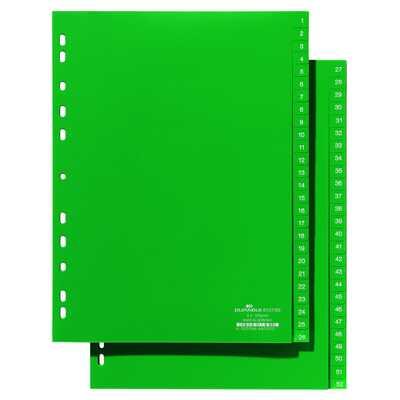 Przekładki A4 zielone, nadrukowane indeksy, 1-52