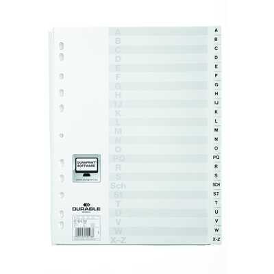 Przekładki PP A4 białe, nadrukowane indeksy, A-Z, przednia strona