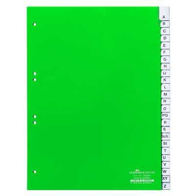 Przekładki A4 zielone, zgrzane wymienne indeksy, A-Z