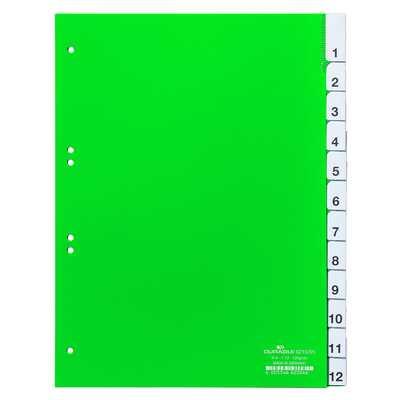 Przekładki A4 zielone, zgrzane wymienne indeksy, 1-12