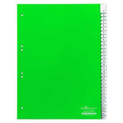 Przekładki A4 zielone, zgrzane wymienne indeksy, 1-31