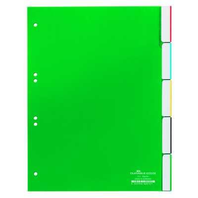 Przekładki A4 zielone, zgrzane wymienne indeksy, 5 części