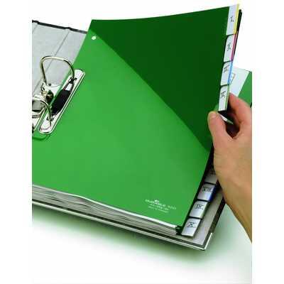 Przekładki A4 zielone, zgrzane wymienne indeksy, 10 części