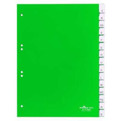 Przekładki A4 zielone, zgrzane wymienne indeksy, A-Z 15 części