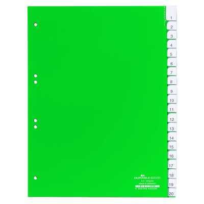 Przekładki A4 zielone, zgrzane wymienne indeksy, A-Z 20 części
