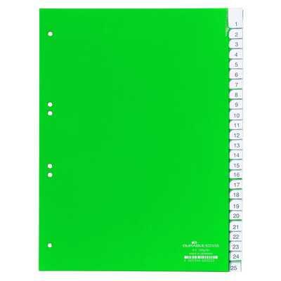 Przekładki A4 zielone, zgrzane wymienne indeksy, A-Z 25 części