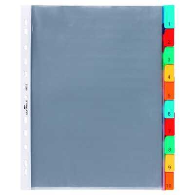 Przekładki A4, kolorowe zgrzane indeksy, 10 części