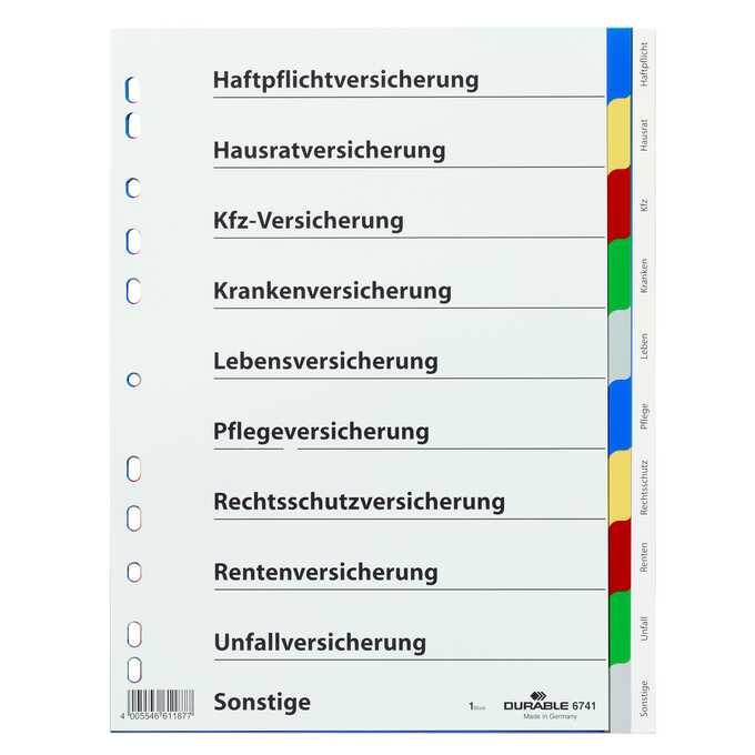 Przekładki A4, kolorowe indeksy, 10 części