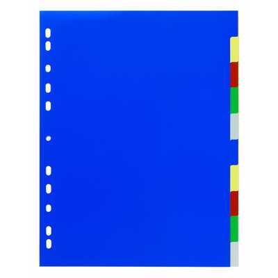 Przekładki PP A4, kolorowe indeksy, 10 części, poszerzone