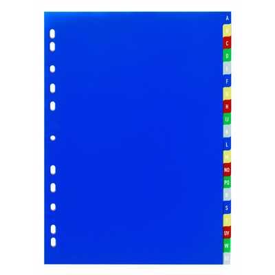 Przekładki PP A4, kolorowe indeksy, A-Z, 20 części