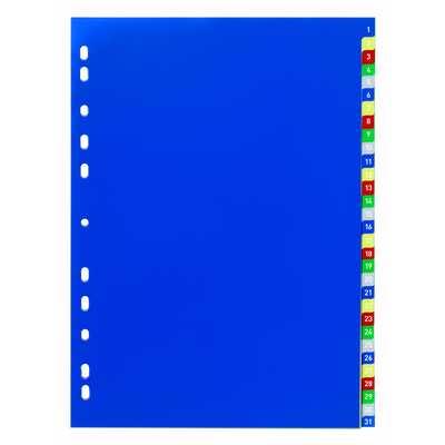 Przekładki PP A4, kolorowe indeksy, 1-31