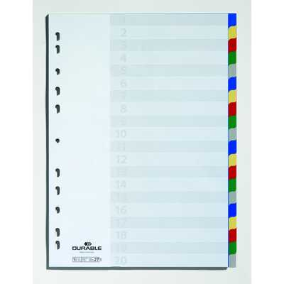 Przekładki PP A4, kolorowe indeksy, 20 części
