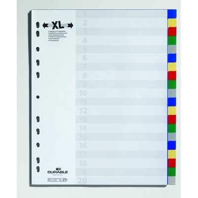 Przekładki PP A4, kolorowe indeksy, 20 części, poszerzone
