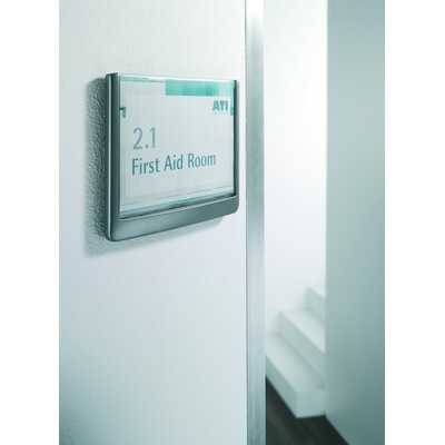 Tabliczka informacyjna na ścianę lub drzwi, Click Sign, Grafitowa 149x148,5 mm