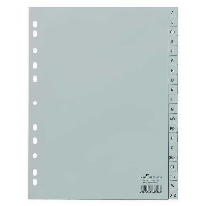 Przekładki PP A4 szare, nadrukowane indeksy, A-Z, 20 części