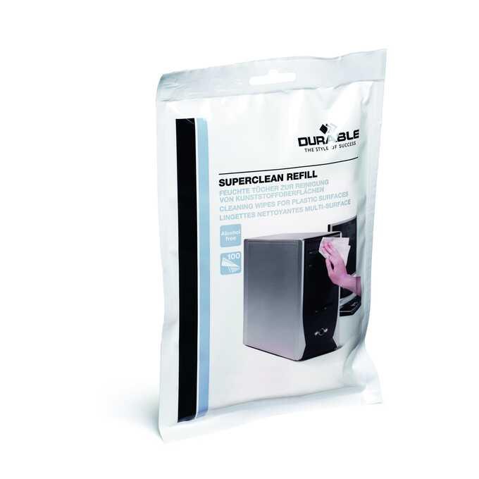 SUPERCLEAN, 100 nasączonych ściereczek do plastiku (zapas)