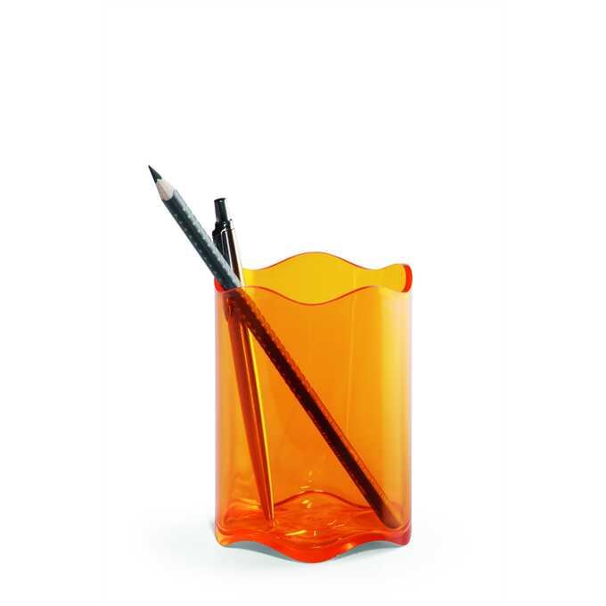 Pojemnik na długopisy TREND DURABLE - Kolor: pomarańczowy przezroczysty