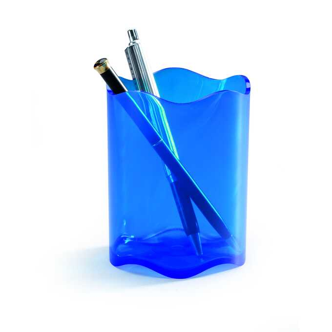 Pojemnik na długopisy TREND DURABLE - Kolor: niebieski przezroczysty