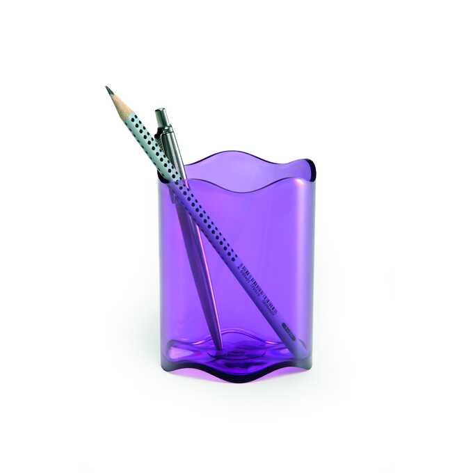 Pojemnik na długopisy TREND DURABLE - Kolor: purpurowy przezroczysty