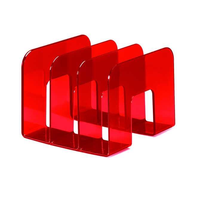 Stojak na katalogi TREND DURABLE - Kolor: czerwony przezroczysty