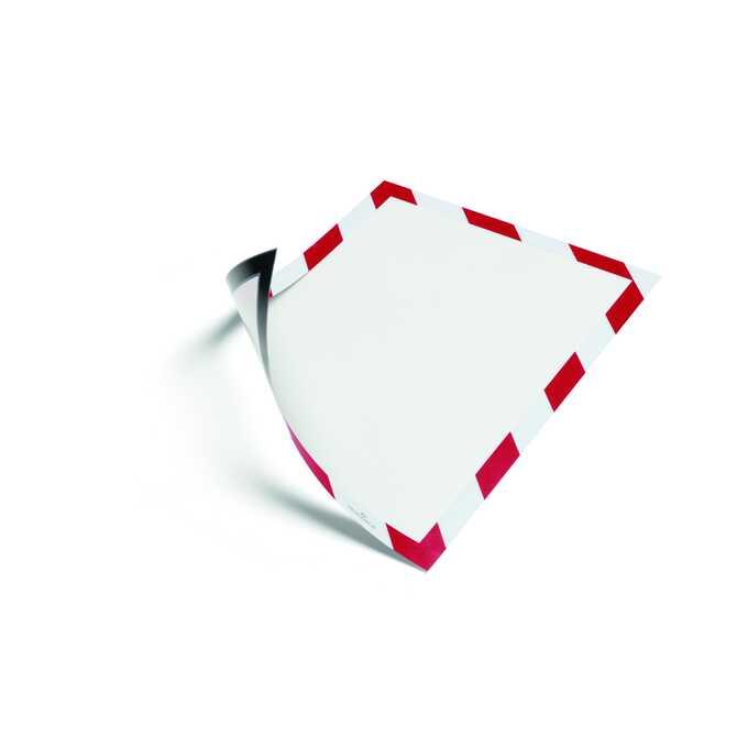 Ramka ostrzegawcza magnetyczna A4 DURAFRAME SECURITY DURABLE, 5 sztuk - Kolor: czerwony/biały