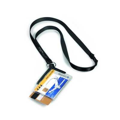 Etui na dwie karty identyfikacyjne z taśmą tekstylną antracytową opk.10szt, CARD HOLDER DE LUXE DURABLE