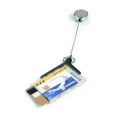 Etui do dwóch kart identyfikacyjnych z mechanizmem ściągającym opk.10 szt,CARDHOLDER DE LUXE PRO DURABLE