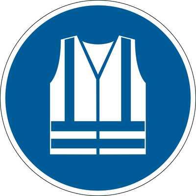 """Znak podłogowy DURABLE - symbol """"Stosuj kamizelkę ochronną"""""""
