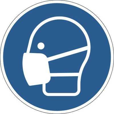 Samoprzylepny znak podłogowy BHP | Użyj maseczki