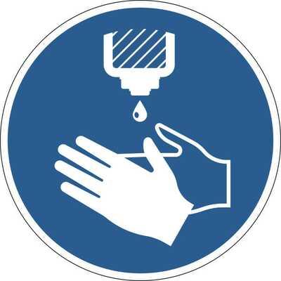 """Samoprzylepy znak BHP  """"Zdezynfekuj ręce"""", usuwalne"""