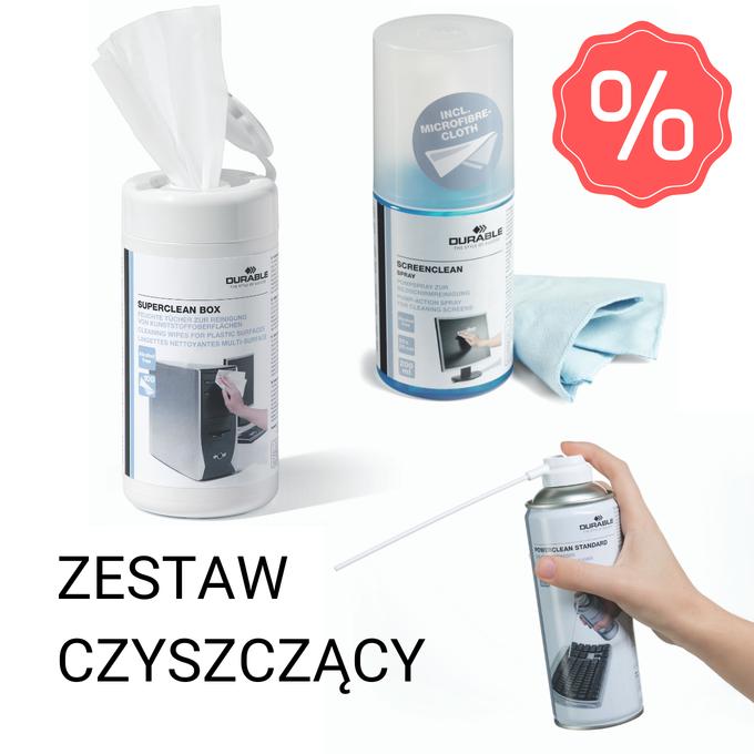[Zestaw] BOX 100 nasączonych ściereczek + płyn do ekranu 200 ml ze ściereczką + sprężone powietrze 400 ml