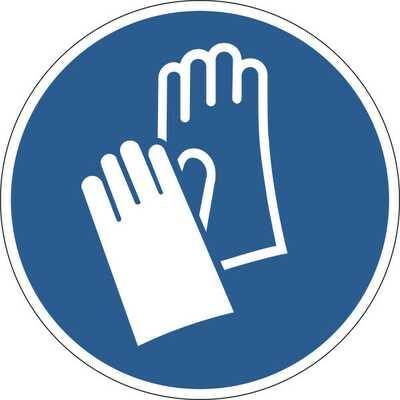 Znak BHP samoprzylepny  | Załóż rękawiczki