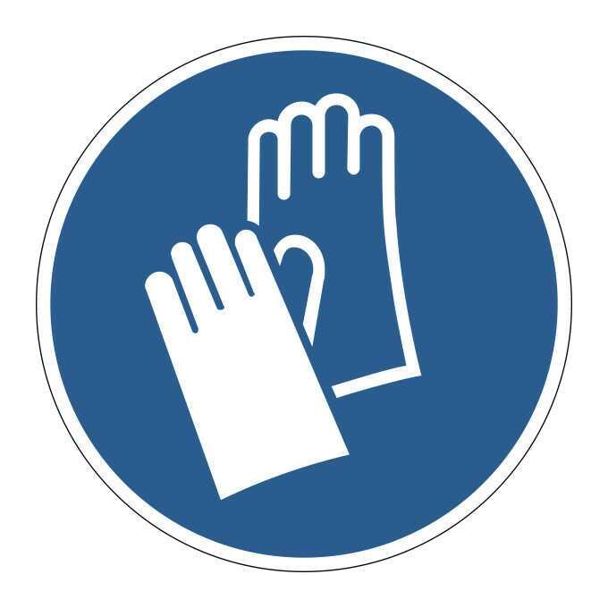 Znak BHP samoprzylepny    Załóż rękawiczki