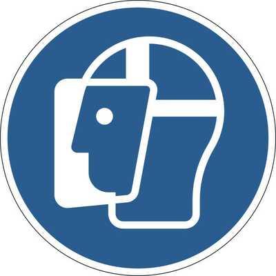 Znak podłogowy BHP | Użyj osłony twarzy