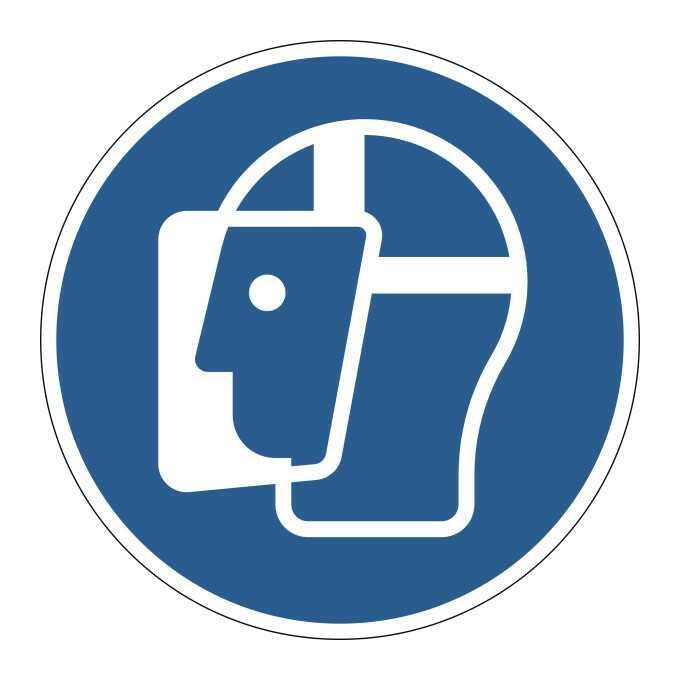 Znak podłogowy BHP   Użyj osłony twarzy